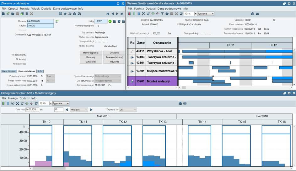 Optymalny plan produkcji - przykłady, symulacje, warianty zleceń produkcyjnych