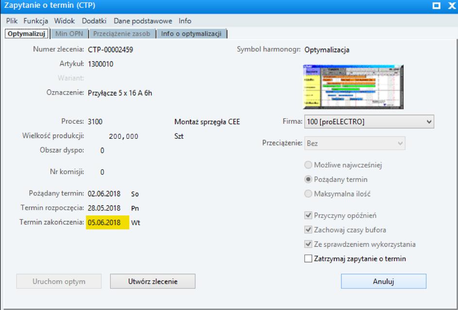 Plan i harmonogram produkcji w oprogramowaniu APS, MES i ERP - termin wyrobu gotowego
