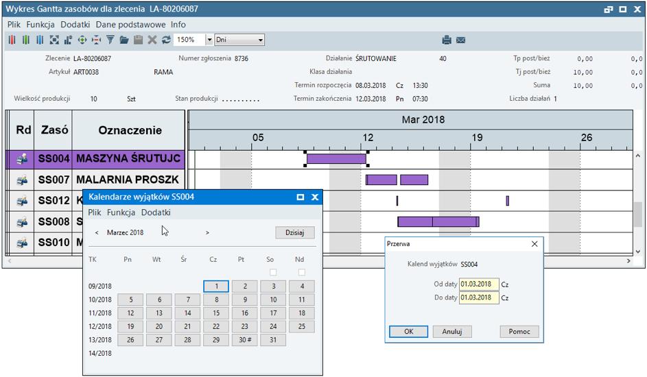 Rejestracja zmiany dostępności zasobu w planie produkcji w systemie ERP